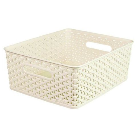 Curver Vintage White Nestable Rattan Bathroom Storage Basket Medium 13L
